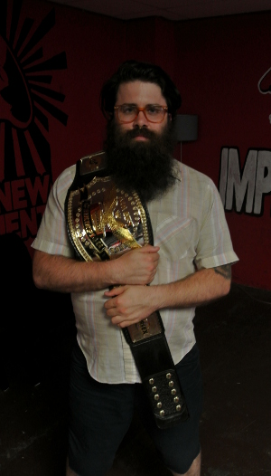 Chris Trew holds the Air Sex Championship Belt