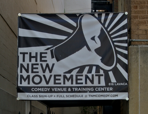 Sign outside the New Movement Theater