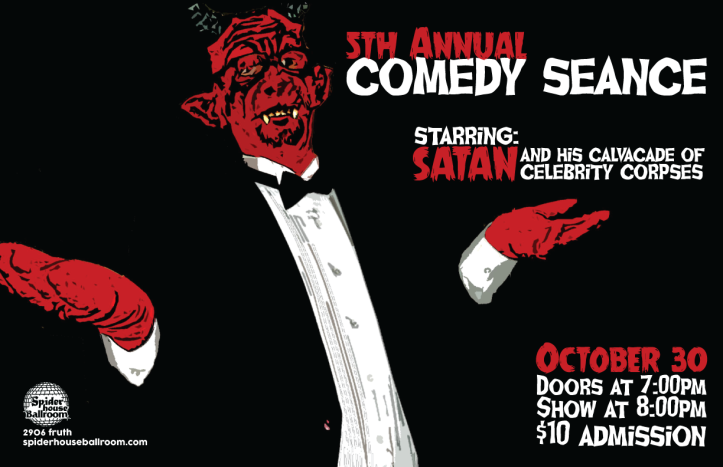 Norm Wilkerson brings Satan to life during the Comedy Seance