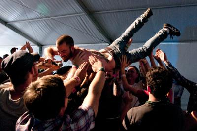Mellard crowd surfs at Fun Fun Fun Fest (photo credit: www.dougmellard.com).